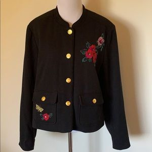 A New Day Embroidered Floral Military Jacket Sz 16